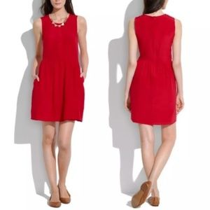 Madewell Shirred Silk Dress in Red Size 2